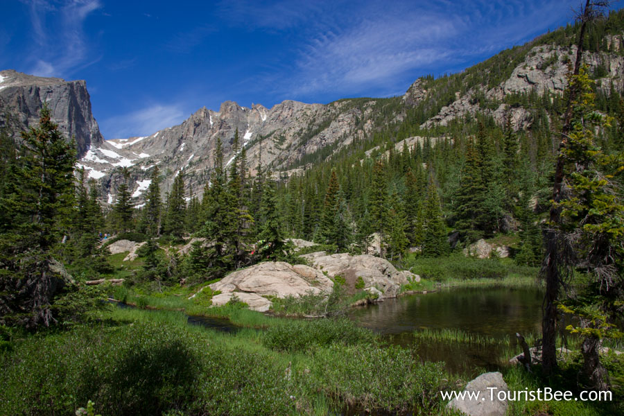 Rocky Mountains National Park, Colorado - The edge of Dream Lake surrounded by rocks and fir trees