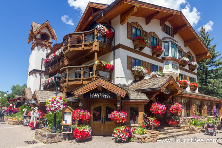 Vail, Colorado - Beautiful German style building with flowers at the windows