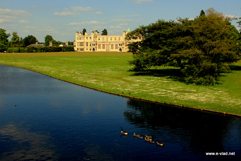 Audley End, Essex, England - View of the front of Audley End House and the River Cam passing through the property