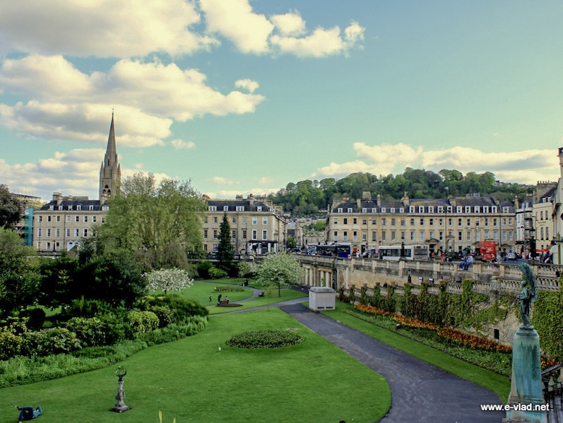 Bath, England - Parade Gardens is located in the heart of Bath and displays beautiful flower arrangements.