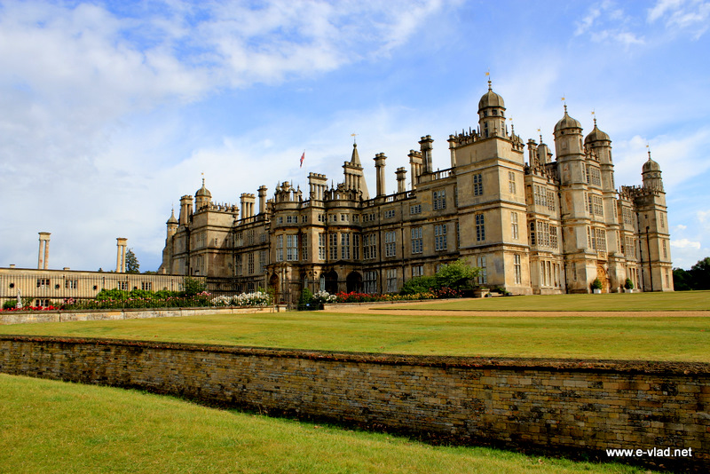 Burghley House, England - Beautiful view of the south side of the house seen from the lawn in front of the house.