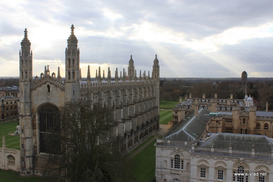 King's College Chapel and The Old Schools seen from Saint Mary's Church Tower.