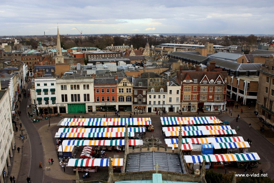 Farmers' Market at Market Hill and panorama of Cambridge seen from Great Saint Mary's Church Tower.