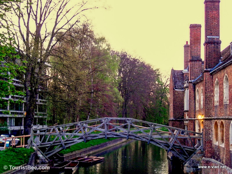 The quirky wooden Mathematical Bridge over River Cam is a popular stop on any Cambridge walking tour.