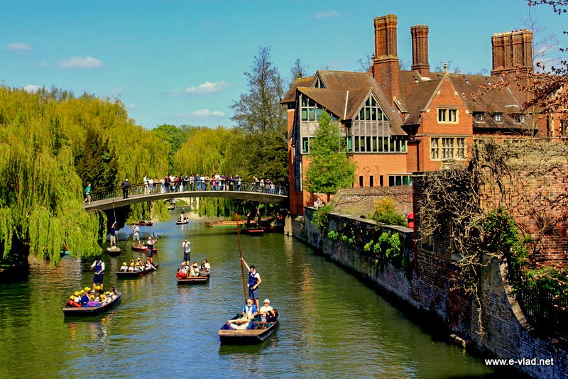 Cambridge, England - Lots of people punting on River Cam on a sunny spring day.