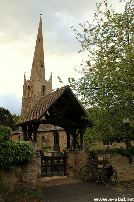 Hemingford Abbots, England - Beautiful wooden covered gate to the St Margaret of Antioch Church.