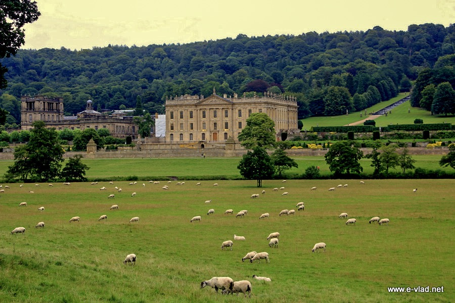 Chatsworth House, England - Beautiful view of Chatsworth House from main access road.