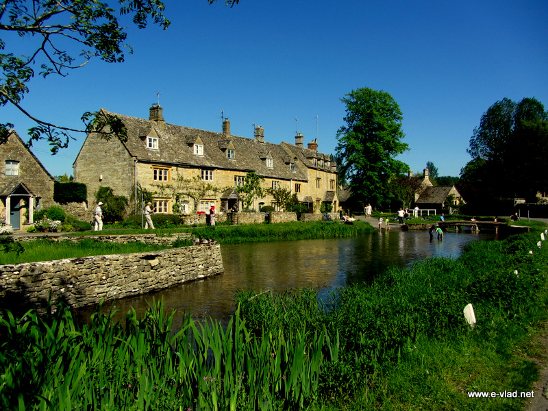Lower Slaughter, England - Beautiful view of the center of the village and River Eye.