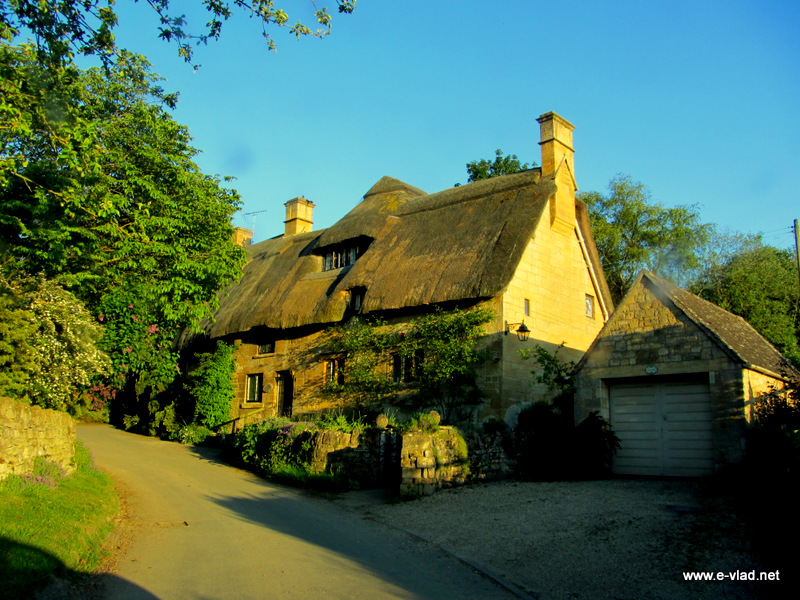 Stanton, England - Small stone cottage on the hill