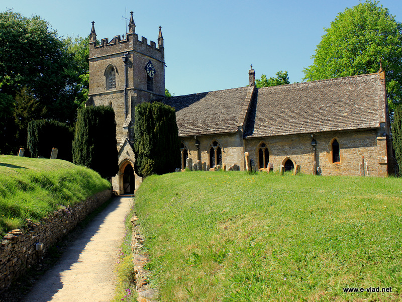 Upper Slaughter, England - The beautiful pathway leading to St Peter's Church.