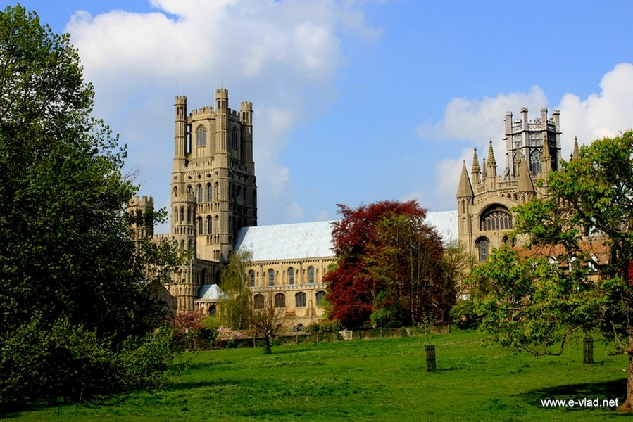 Ely, England - The East half of Ely Cathedral seen from the south from Black Hill.