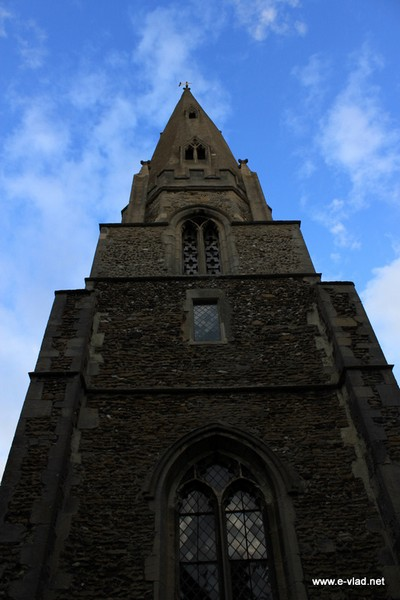 Houghton, Cambridgeshire, England - Looking up at the St. Mary's church tower.
