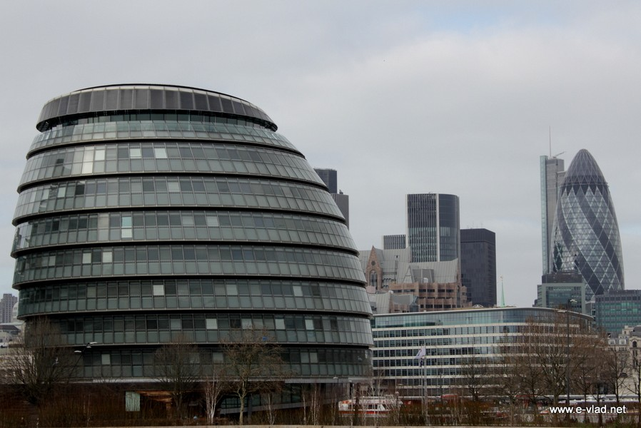 London's modern City Hall and the famous Gerkin building.