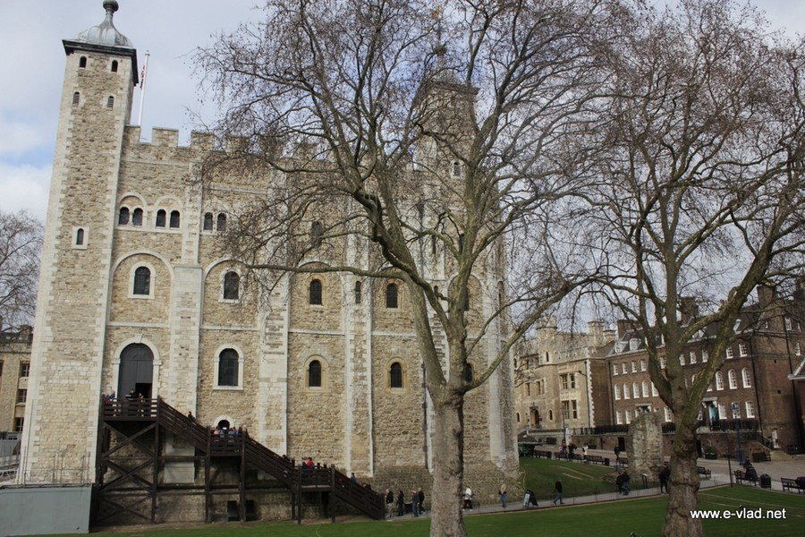 London, England - White Tower within the Tower of London fortress.