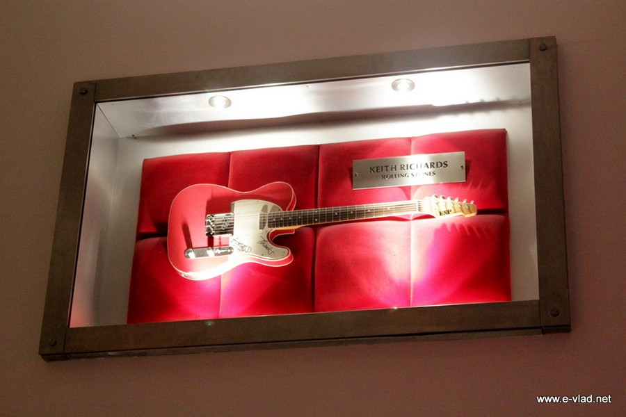 London, England - One of the guitars used by Keith Richards from The Rolling Stones on display at the Hard Rock Cafe on Piccadily