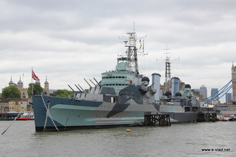 London, England - HMS Belfast docked on River Thames in London.
