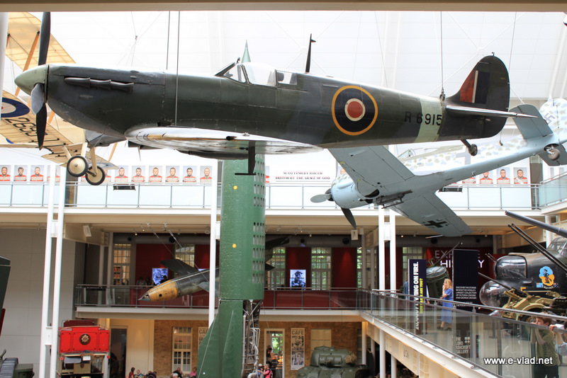A British Supermarine Spitfire Mark IA on display at the Imperial War Museum