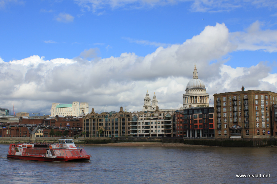 Beautiful view of Millenium Bridge and St Paul Cathedral dome seen from across the Thames River.