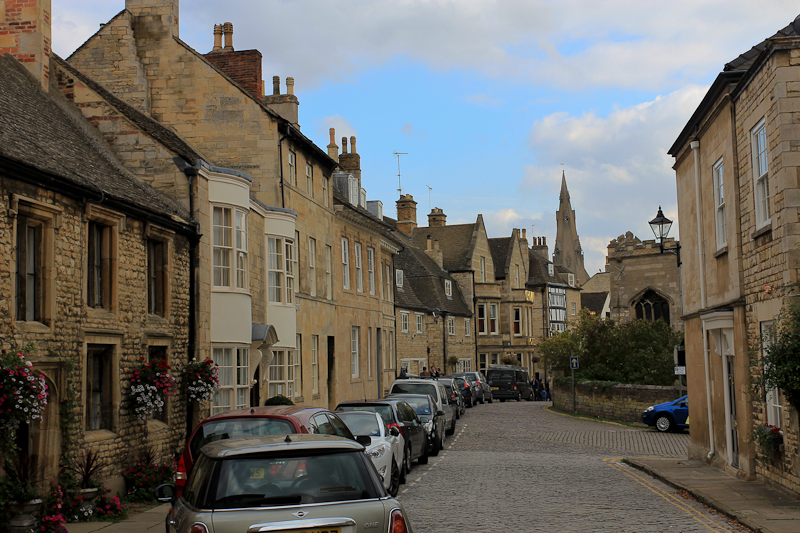 Stamford, Lincolnshire, England - Walking down on Barn Hill toward All Saints' Church.