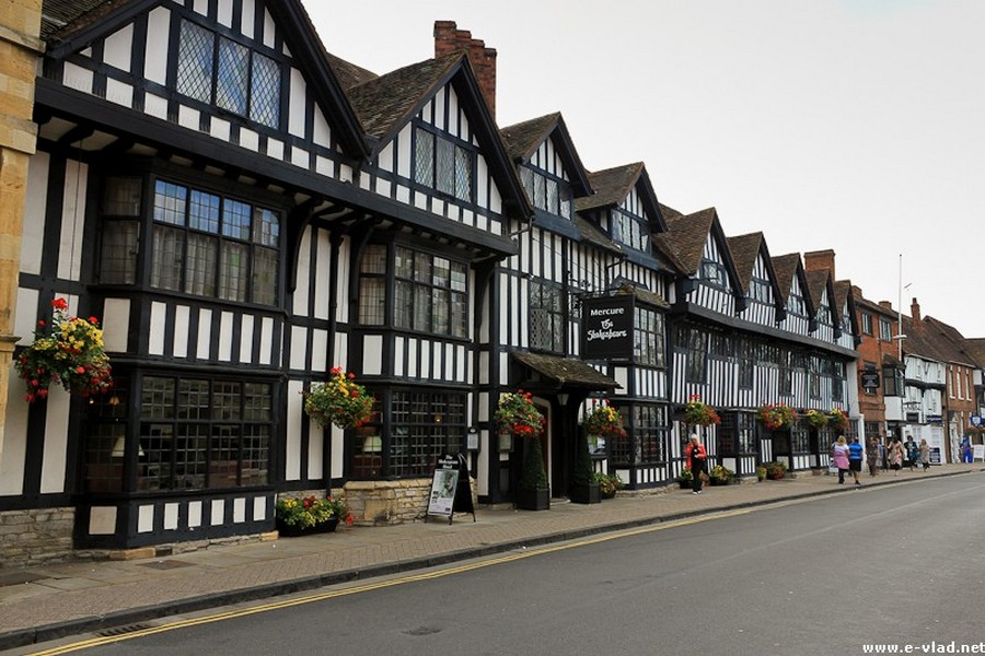 Stratford-upon-Avon, England - Old timber houses on High Street