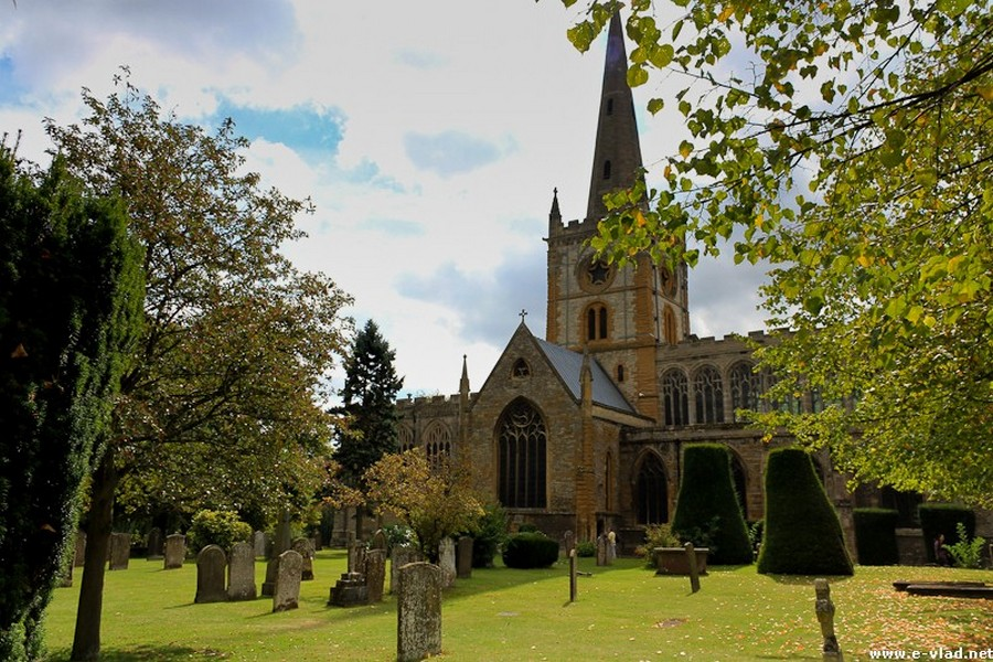Stratford-upon-Avon, England - The Holy Trinity Church is hidden among trees