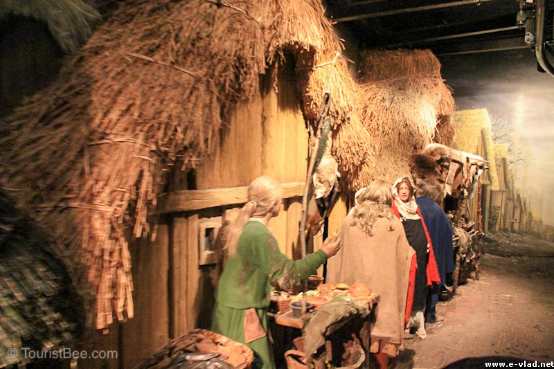 Viking village house reconstructed inside the Jorvik Center.
