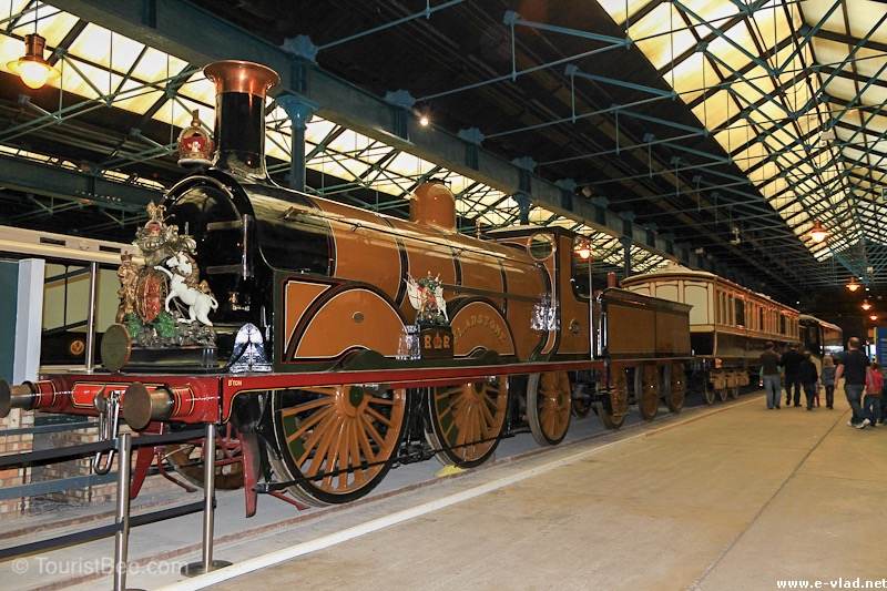 Beautiful steam engine and train cars on display at the National Railway Museum.