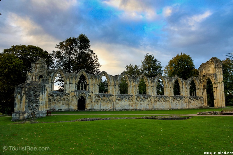 The ruins of St Mary's Abbey in the Museum Gardens.
