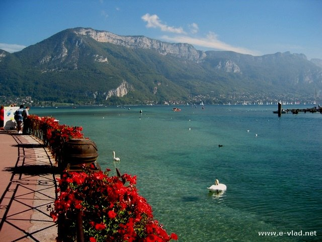 The lake is crystal clear in Annecy, France.