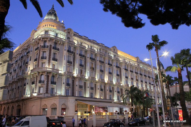 cannes france the majestic ritz carlton hotel at sunset. Black Bedroom Furniture Sets. Home Design Ideas