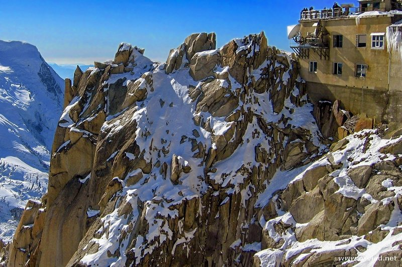 Chamonix, France - Aiguille du Midi is the last tramway stop and gives a breathtaking view of the French Alps and Mont Blanc