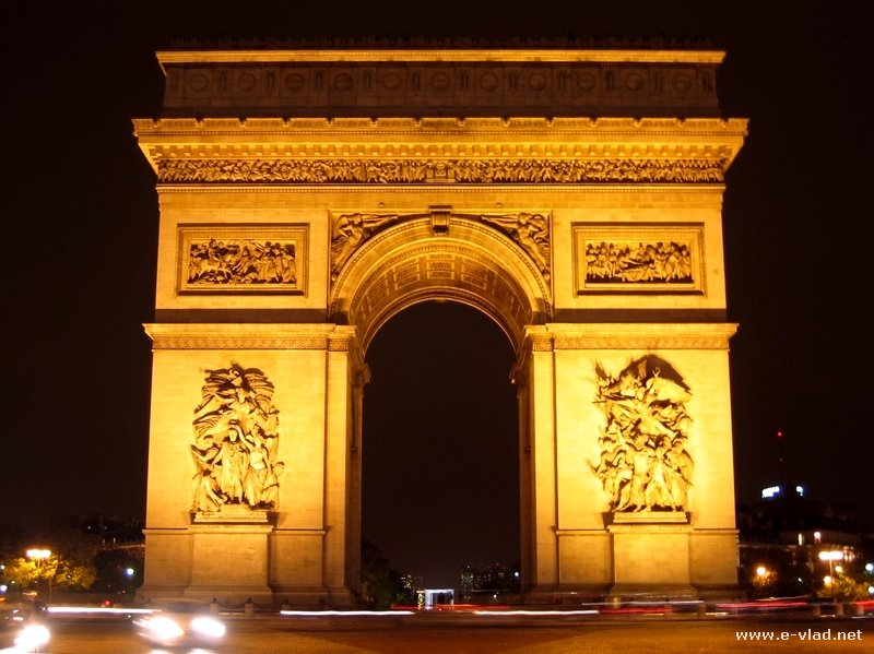 Paris, France - Arch of Triumph at night.