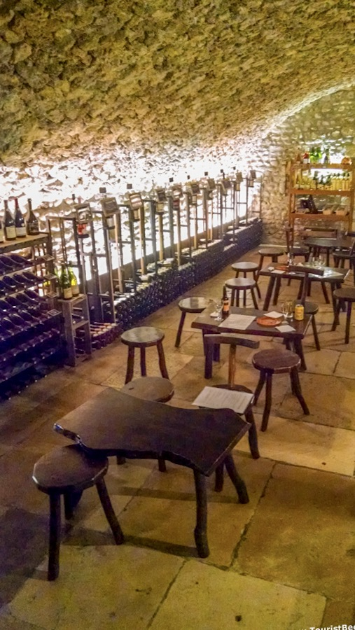 Perouges, France - Beautiful view of the cellars turned into restaurant at Caveau de Saint Vincent