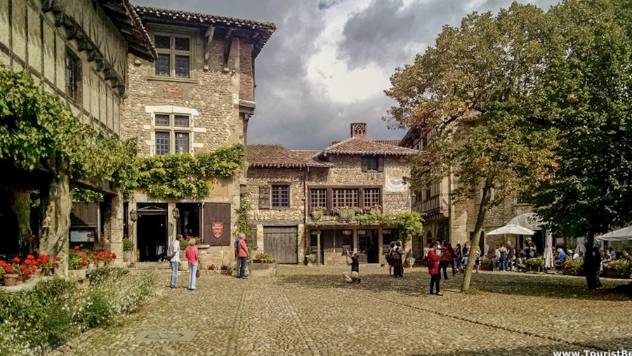 Main square at Perouges, France which is number one on my list of day trips from Geneva