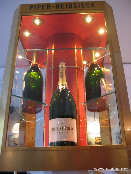 Large champagne bottles on display at the Piper Heidsieck vinery.