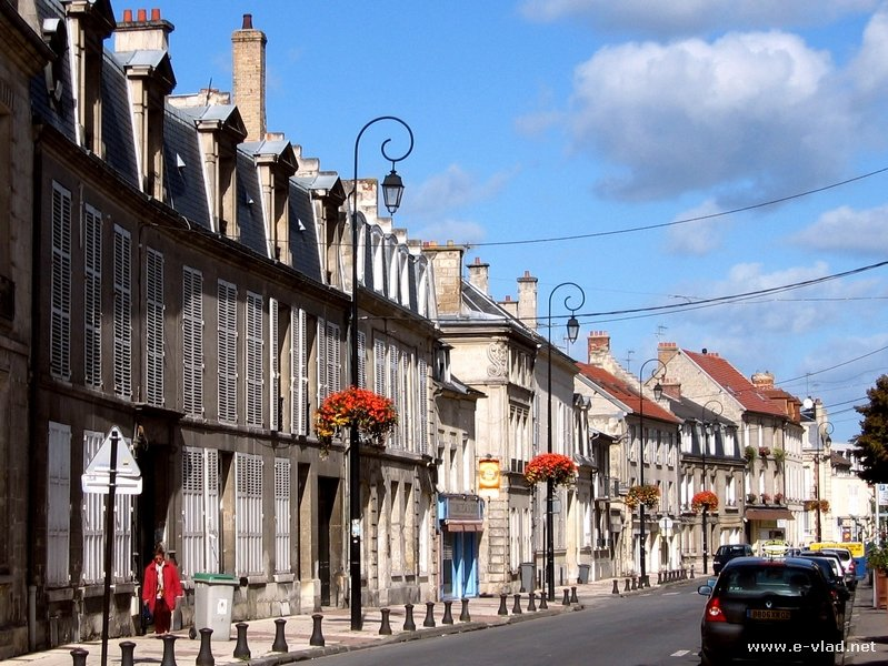 Soissons, France - Walking down the street.