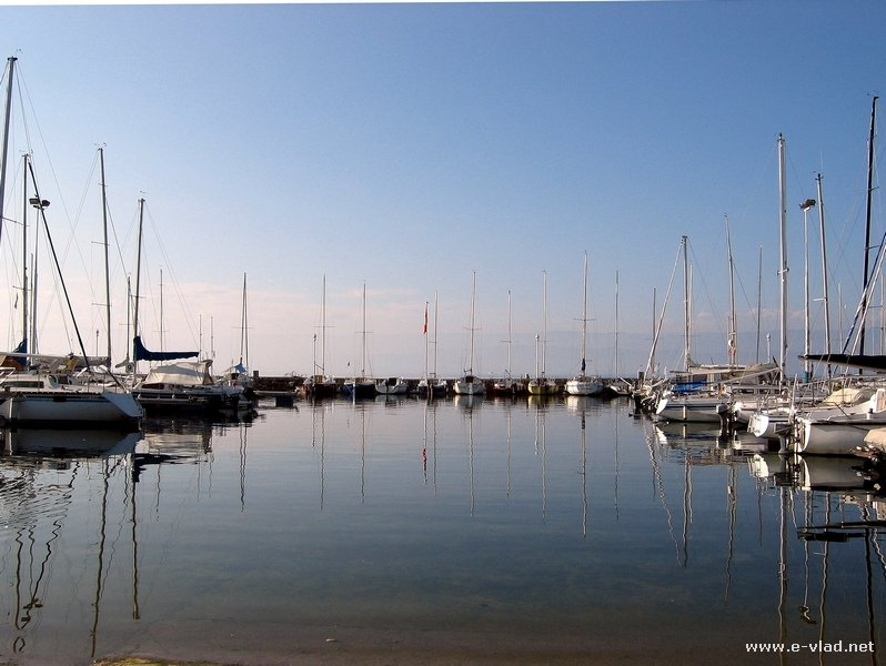 Thonon les Bains, France - Beautiful view of small boats anchored in the marina