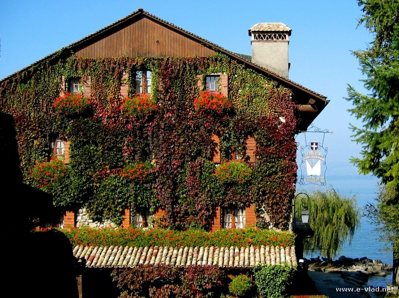 Yvoire, France - Ivy covered country house overlooking Lake Geneva.