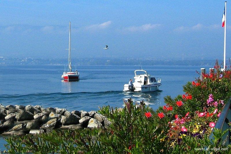 Yvoire, France - Beautiful marina on the shore of Lake Geneva.