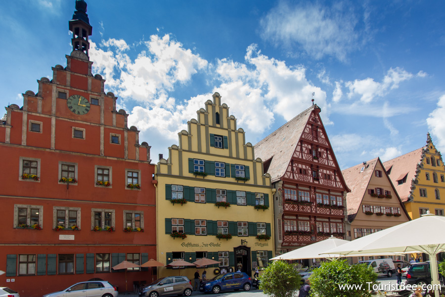 Dinklesbuhl, Germany - Beautiful colorful houses in the main square Marktplaz