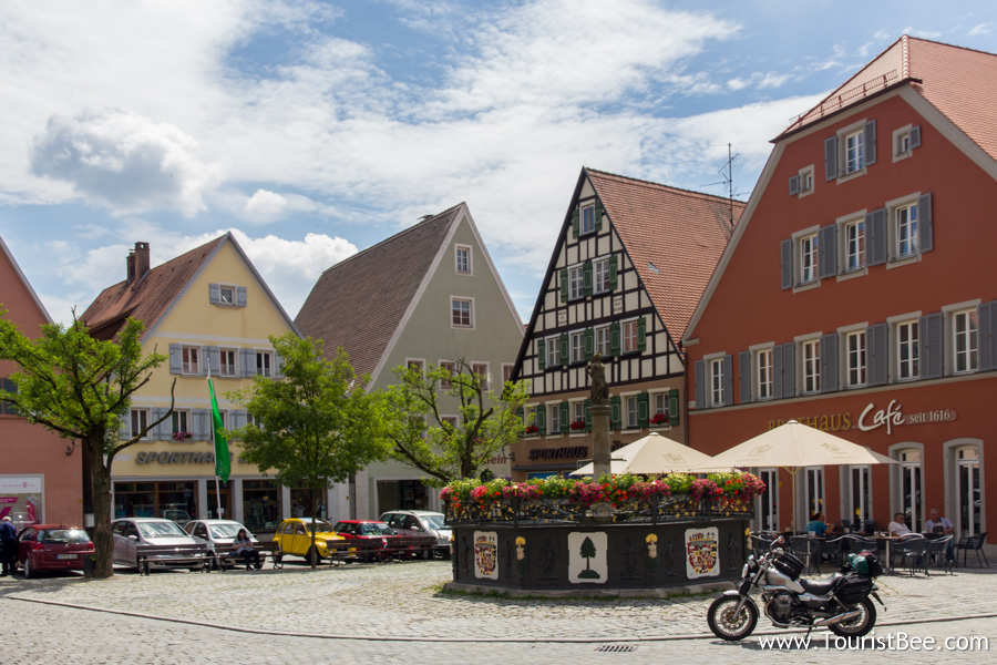Feuchtwagen, Germany - Beautiful colorful buildings in the central square. This is the sight that meets the tourist as they come into town on Untere Torstraße street.