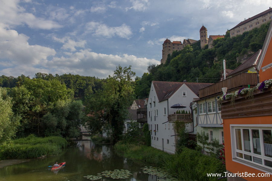 Harburg, Germany - The iconic view of Harburg Castle from the stone bridge