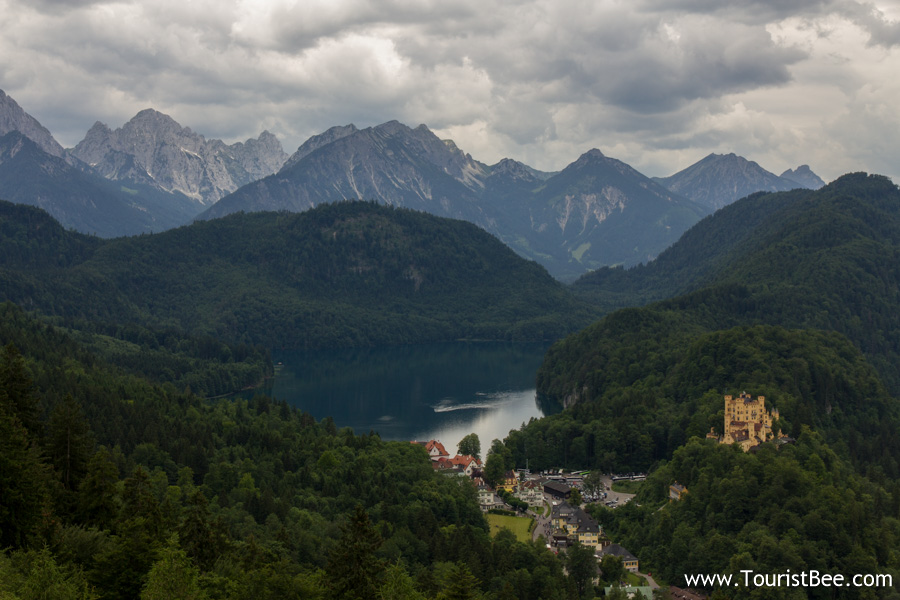 Hohenschwangau, Germany - Amazing view of the Alps, the Alpsee lake and Hohenschwangau Castle seen from Neuschwanstein Castle