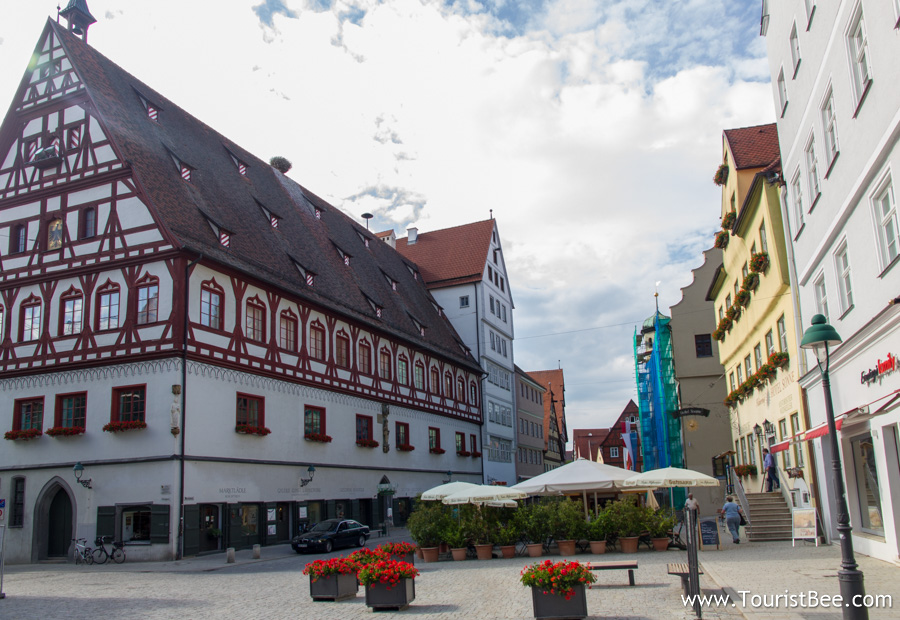 Nordlingen, Germany - Beautifully restored old building and small square