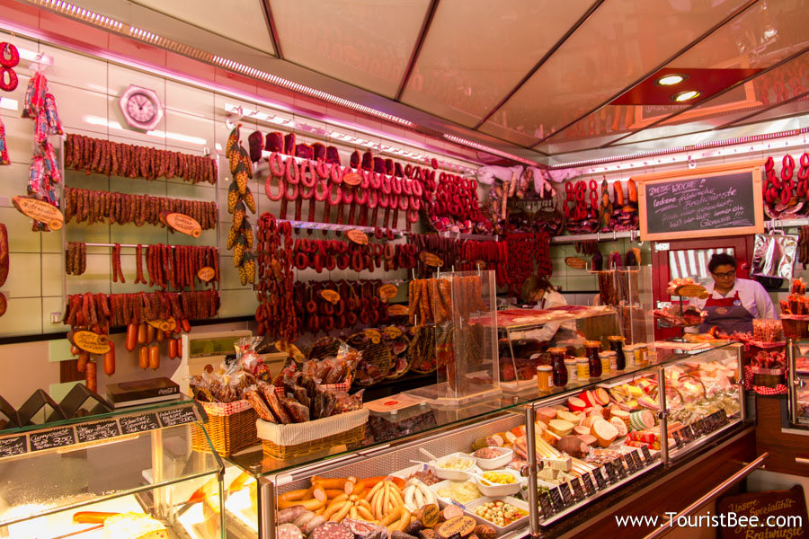 A local butcher shop in Rothenburg, Germany. These small shops can make delicious sandwiches with fresh meats.