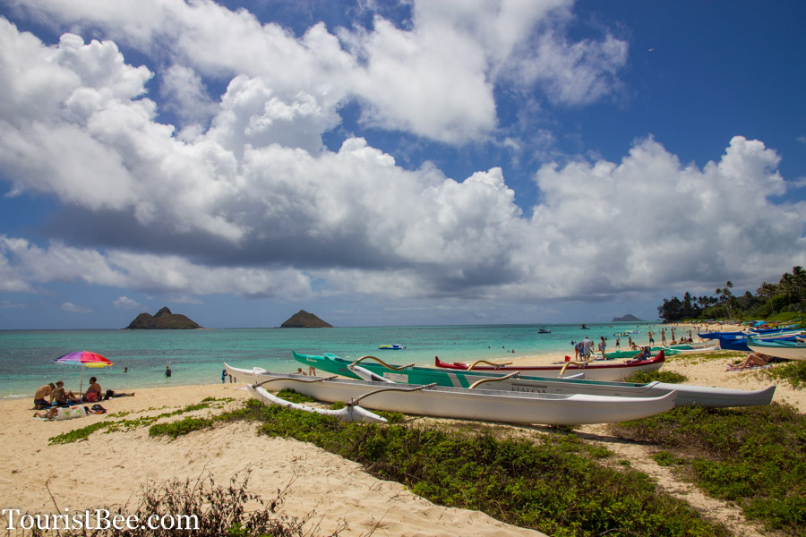 The famous Lanikai Beach on the East Shore of Oahu. This Beach appears on rankings of the world's best beaches.