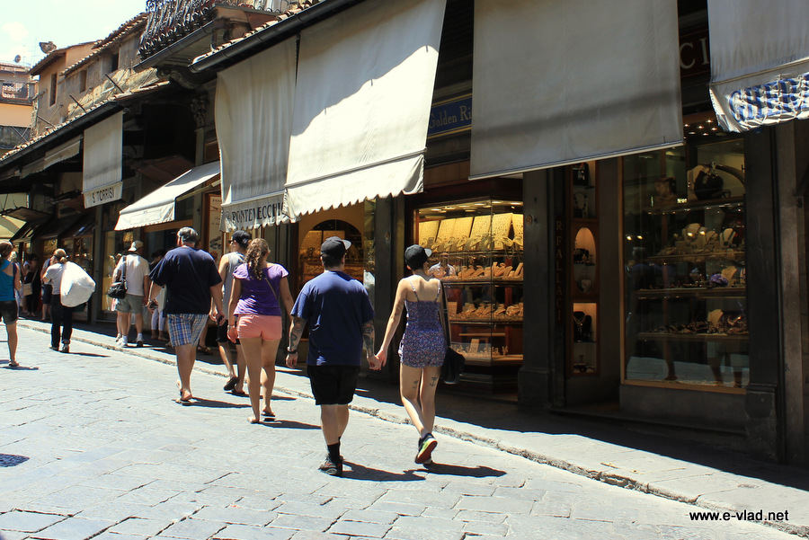 Florence, Italy - Walking on Pente Vecchio and admiring the old jewlery shops.