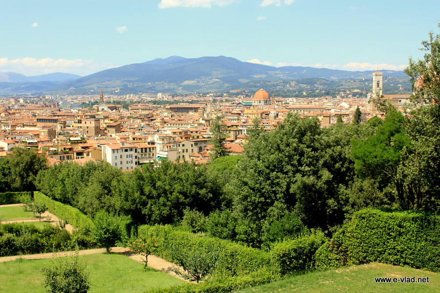 Beautiful panorama of Florence seen from Palazzo Pitti.