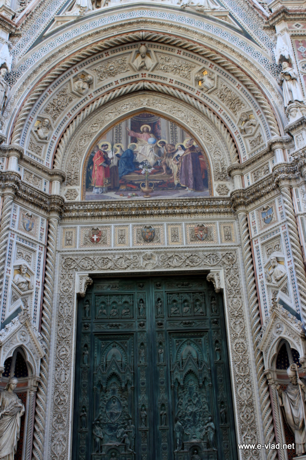 Beautiful details from the entrance door to Florence Cathedral. This is the most visited of the churches in Florence, Italy