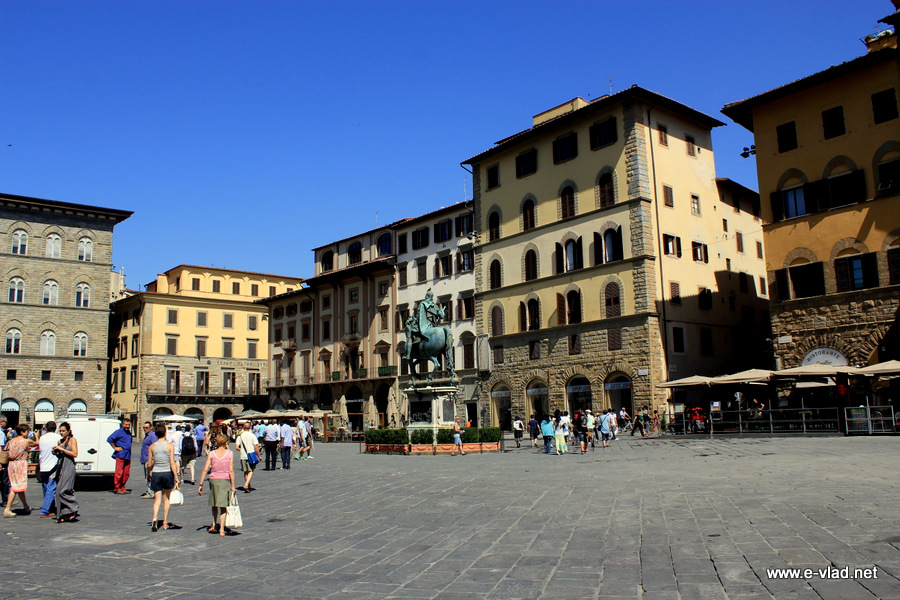 Piazza della Signoria is filled with tourists in the summer.